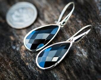 Black Spinel Dangle Earrings, Black Spinel, Stunning Black Spinel Checkerboard Black Spinel earrings - Black Spinel Dangle Earrings - Dangle