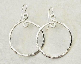"""Hammered Sterling Silver Hoop Earrings, 1.25"""" Diam. - Small Hoop Earrings - Hammered Hoop Earrings - Sterling Hoops - Roca Jewelry Designs"""