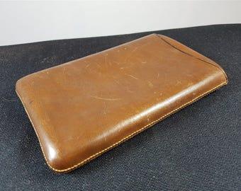 Vintage Brown Leather Cigar Case Holder 1940's - 1950's