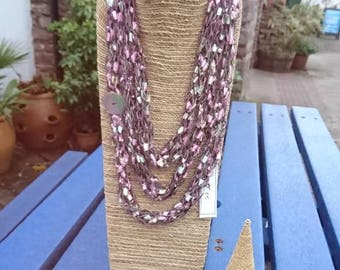 Stunning finger knitted necklace scarf