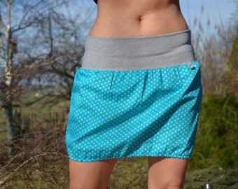 Mini skirt, bubble skirt, balloon skirt, blue,dots,petrol
