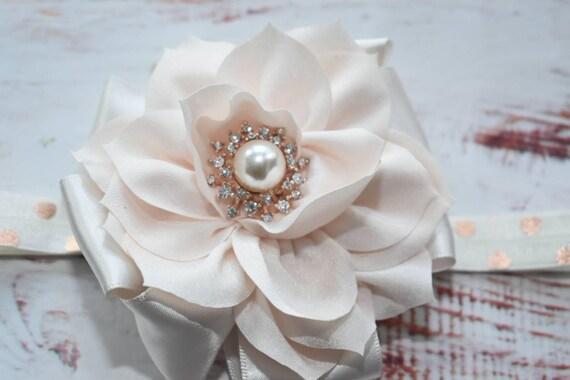 Ivory special occasion rosette hairband - Baby / Toddler / Girls / Kids Elastic Flower  / Hairband / barette / Headband / photo prop /