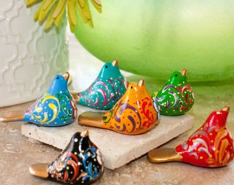 Ceramic flowering bird decorative handmade painted