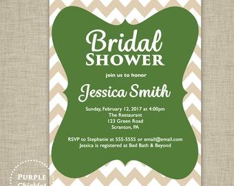 Green White Beige Bridal Shower Invitation Chevron Invite Adult Party Invitation Digital Party Invite JPEG file 2a