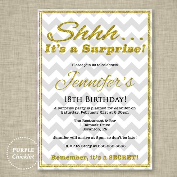 Surprise Party Invitation 30th 40th 50th 18th Birthday Invite