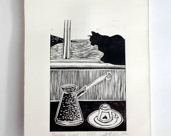 "Original Linocut Handmade Print, 6.5"" x 9"", Limited edition, small size art, black ink, black cat, Turkish coffee, wall decor, block print"