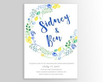 Lemon Party Invitation, Lemon Bridal Invitation, Printable, Lemon, yellow and blue