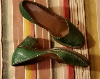 1940s Green Authentic Lizard Skin Shoes Comfortable and Sexy Cute Boho Bohemian 40s Gal Vintage Style  Mexicali Fun Size 7