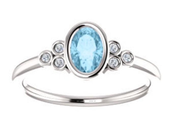 Featured listing image: 25% OFF Aquamarine Diamond 14K Gold Ring, March Birthstone