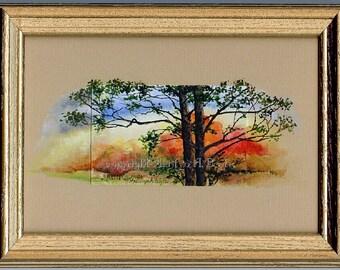 ORIGINAL MINIATURE; Mixed medium, watercolor and acrylic, autumn scene, trees on watercolor paper, acrylic on mat, wall art