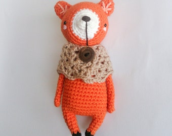 Acrylic crocheted amigurumi fox plushie. Height : approx 19cm