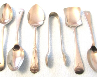 Unusual Antique Set of Cutlery, T Initial, Victorian Cutlery, Spoons, Fruit Spoon, Sugar Tongs, Personalized Set, Table Decor, Nickel Silver
