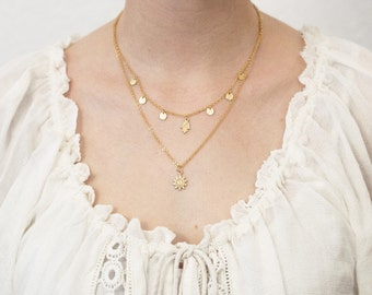 Layering necklace Hamsa