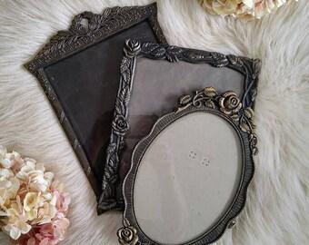 """S A L E  Vintage Frames, Photo/Picture Frames, Antique Gold Frames, Set of 3, 8"""" x 10""""  Metal Frames,"""