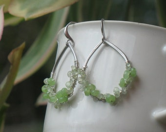 Beautiful Silver Tear Drop Dangle Earrings Wire Wrapped with Lime Green Chalcedony and Prehnite With Fine Brushed Silver Plated French Wires