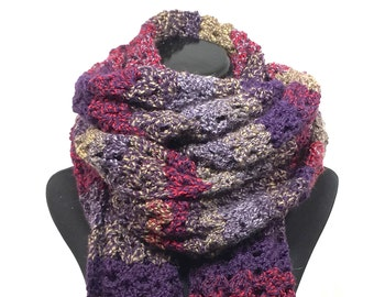 Purple Stripe Oversized Crochet Scarf