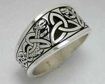 Celtic Triangle Knot with Dragon Style 1 Tapered Signet Ring  - Sterling Silver - All Sizes Available