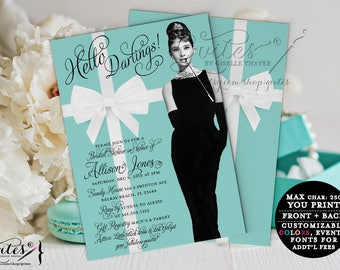 Breakfast at Tiffany's Bridal Shower Audrey Hepburn invitations, blue theme party, white bow digital shower invites, hello darlings.