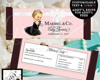 Candy Bar Wrapper - Pink BABY SHOWER baby and co printable party chocolate bar wrapper, DIGITAL, customizable colors.