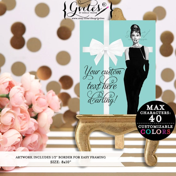 Audrey Hepburn signs, customizable party breakfast bridal shower, baby shower, birthdays, Audrey party printables, digital only! 8x10