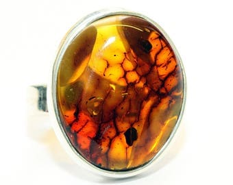 Baltic amber ring - Sterling silver ring - Amber ring - Amber Silver Ring - Natural amber ring - Gift for her - Gift for women - US size 9