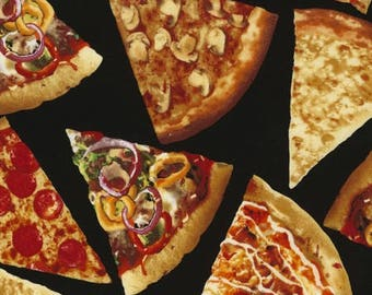 LAST PIECES!!! **** Realistic Pizza novelty fabric - realistic [[by the half yard]]