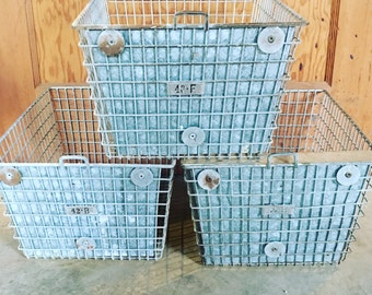 50 -Vintage Northwest Oregon Gym Locker Baskets - Industrial Decor