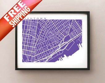Fishtown, Philadelphia Map Print, Philly Art Poster, Pennsylvania State Modern Wall Art, Line Illustration