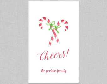 Cheers Candy Cane Holiday Gift Tag