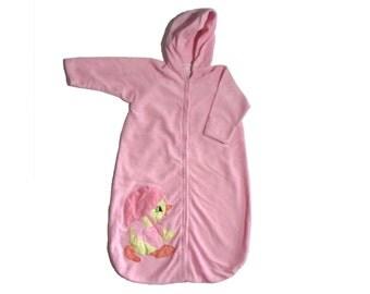 Girl's Pink Hooded Sleep Sack Duck With Umbrella Newborn - Birth to 3 months by Mon Petit Chou, Ltd. Circa 1980
