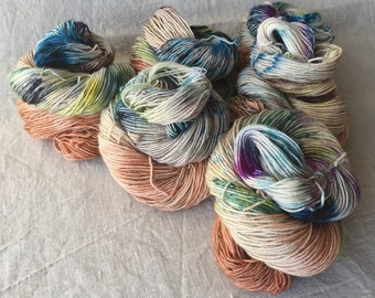 hand-dyed BFL yarn, made from natural raw materials, high-twist, speckled 2