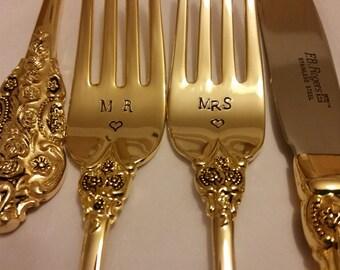 Gold Wedding forks 3pc 2 Hand Stamped Wonky MR MRS forks +1 Unstamped knife 24K Gold Plated New/ Vtg Gatsby gold forks Real photos Plz read