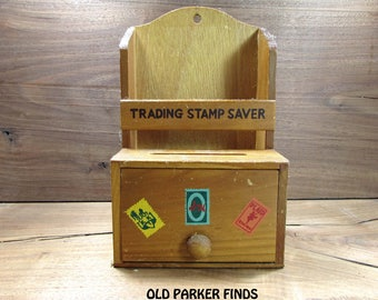 Antique Trading Stamp Holder, Wooden Trading Stamp Holder.