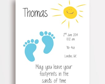 FOOTPRINTS in the SAND - Personalised Nursery Wall Art - New Baby Gift - Blue or Pink - Print only