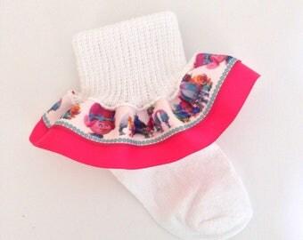 Trolls Ruffle Socks - Trolls Girls Socks - Ruffle Socks - Character Girl Socks - Trolls Socks - Disney Trolls Socks - Poppy Socks