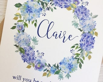 Will you be my bridesmaid card - Bridesmaid card - Personalised bridesmaid card