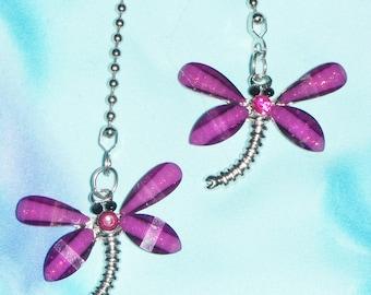 Set of Two ~ Purple Dragonflies Shimmering Wings Rhinestone ~ Ceiling Fan Pulls