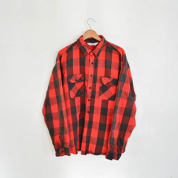 Dakota by five brother buffalo plaid heavy flannel shirt size for Heavy plaid flannel shirt