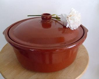 Terracotta casserole dish Vintage Spanish cooking pot