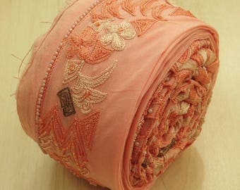 Free Shipping Vintage Indian Sari Border Sewing Embroidered Trim 1YD Peach Women Wrap Sarong Ribbon Lace  VB13367
