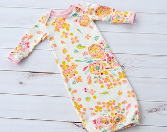 Baby Gown - Baby Girl Gown - Baby Sleeper - Coming Home Outfit - Hospital Outfit - Preemie Outfit - Baby Outfit - Infant Sleeper