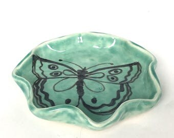 Scalloped Treasure Dish with Butterfly