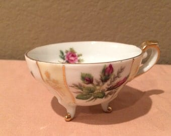 Vintage Antique Floral Three Legged Teacup  Gold Trimmed No Maker Noted