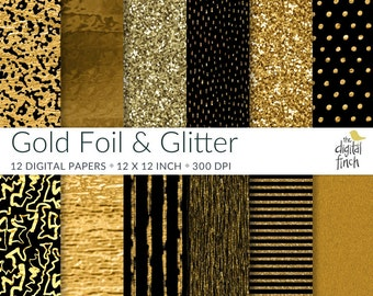 "Gold Foil and Glitter digital paper pack - scrapbooking - instant download - commercial use - royalty free - 12 papers - 12x12"" - 300 dpi"