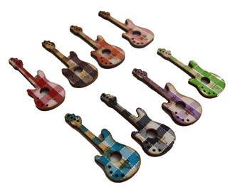 8 PC Miniature Wooden Guitar Pendants Charms Pendants Colored Findings MW42617