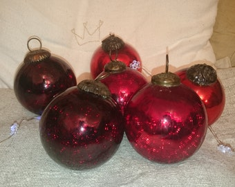 Vintage french glass Christmas ornaments