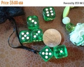 Holiday savings Mini Minty GURPS Yahtzee Farkle six dice set six d6 mini green with round corners and white pips jewelry item and mesh bag