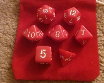 Red Apple - 7 Die Polyhedral Set with Pouch