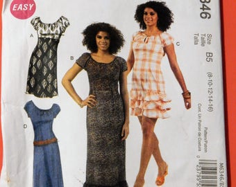 McCall's 6346 Easy to sew empire waisted dress pattern in two lengths Uncut Sizes 8, 10, 12, 14 and 16