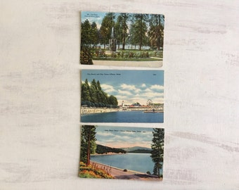 3 Old Vintage Post Cards of Coeur d' Alene, Idaho